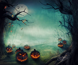 Обои Хэллоуин Тыква Туман Ветки Луны Фантастика