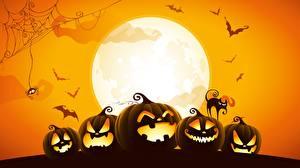 Обои Хэллоуин Тыква Векторная графика Луны
