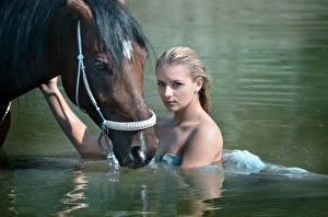 Картинки Лошади Вода Блондинки Взгляд Мокрые Красивый молодые женщины