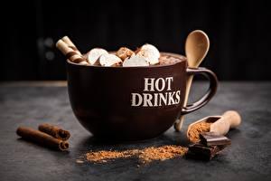 Фотографии Какао напиток Кружка Какао порошок Зефирки Пища