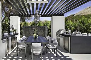 Обои Интерьер Дизайна Столы Стул Кухни