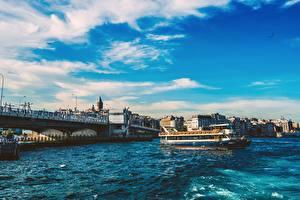 Фотографии Стамбул Турция Мост Речные суда Bosphorus Города