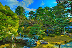 Фотографии Япония Парки Киото Камень Кустов HDR Деревья Ручей Imperial Palace gardens Природа
