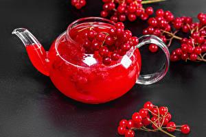Фотографии Чайник Напиток Серый фон Ветка viburnum Пища