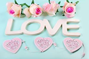 Обои Любовь Розы День всех влюблённых Текст Английская Серце Цветы