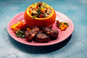 Фотографии Мясные продукты Тыква Овощи Рис Тарелке Пища