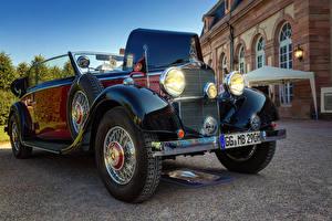 Картинки Мерседес бенц Ретро Кабриолет Металлик 1936 290 B Автомобили