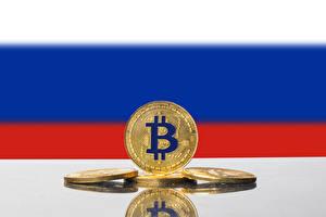 Фото Деньги Монеты Bitcoin Флага Русские