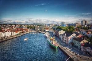 Обои Норвегия Причалы Здания Корабли Stavanger Города