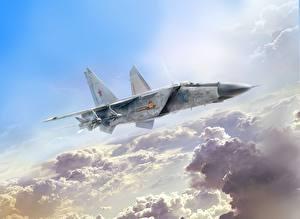 Картинка Рисованные Самолеты Истребители Русские Ivan Khivrenko, MiG-25PD Авиация