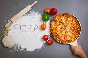 Фотографии Пицца Перец овощной Мука Слово - Надпись Еда