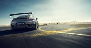 Картинка Porsche Сзади Движение Серые 911 машина