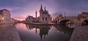 Обои для рабочего стола Речка Мост Здания Бельгия Гент Водный канал Leie River, Graslei Quay, Sergey Aleschenko город