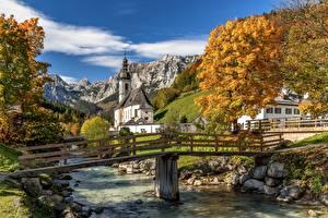 Фото Реки Мост Гора Осенние Германия Церковь Бавария St. Sebastian, Ramsau Природа
