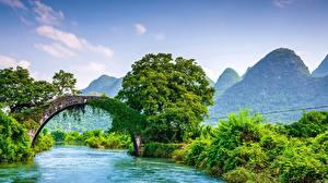 Фотографии Реки Мосты Гора Китай Guangxi Guilin Природа