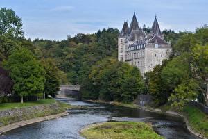 Обои Река Замок Бельгия Castle Durbuy Города