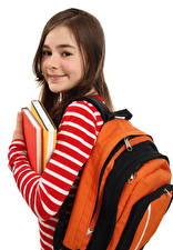 Картинка Школа Белым фоном Девочки Книги Смотрит Рюкзак ребёнок