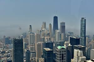 Картинки Небоскребы Штаты Туман Мегаполиса Чикаго город город