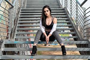 Фотографии Лестницы Позирует Сидящие Джинсов Вырез на платье Волос Красивая Брюнетки Смотрит девушка