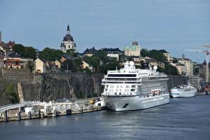 Обои Стокгольм Швеция Причалы Корабль Круизный лайнер