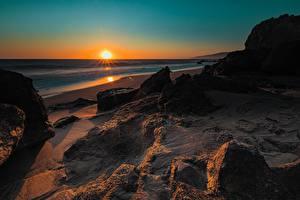 Фотографии Рассвет и закат Побережье Америка Калифорния Солнца Природа
