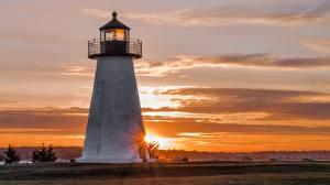 Фотографии Рассветы и закаты Маяк Америка Massachusetts, Mattapoisett, Shell Beach Природа