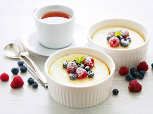 Картинки Чай Малина Черника Десерт Чашка pudding Еда