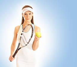 Фото Теннис Цветной фон Мячик спортивная Девушки