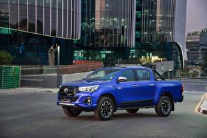 Картинка Тойота Синие Пикап кузов 2019 Hilux Legende 50 Double Cab машины