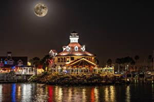 Фотография Штаты Здания Причалы Калифорния Залива Ночные Луны Shoreline Village in Long Beach Города