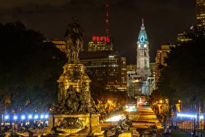 Картинки США Дома Памятники Ночные Уличные фонари Philadelphia Города
