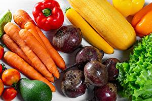 Обои для рабочего стола Овощи Морковь Перец овощной Свекла Помидоры Продукты питания