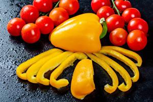 Картинки Овощи Помидоры Перец Кусок Еда