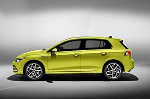 Фотографии Фольксваген Сбоку Салатовый Металлик Golf hatchback 2020 Автомобили