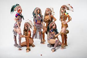 Картинки Индейский головной убор Индейца Красивый Сером фоне Vitaly Rychkov молодые женщины