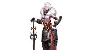 Картинки Воины Белый фон Красивая Меча Блондинки Доспехах CHOI kwangsoon, Queen of the snowy Девушки