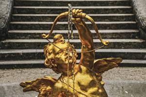 Фотография Ангелы Скульптуры Лестницы Золотой Лук оружие