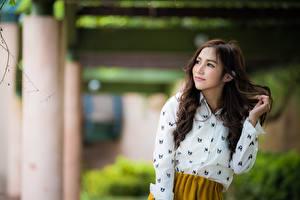 Фотография Азиатки Боке Позирует Волос Шатенки Миленькие девушка