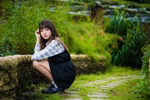 Обои Азиаты Поза Сидя Милые Шатенка Девушки