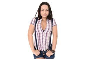 Картинка Белом фоне Позирует Рубашке Вырез на платье Брюнетки Aurelly Rebel девушка