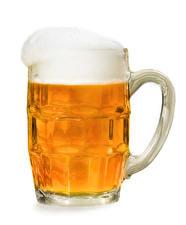 Картинка Пиво Белый фон Кружка Пеной Еда