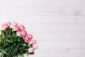 Фото Букет Розы Розовая Шаблон поздравительной открытки цветок