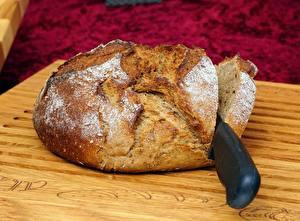 Картинки Хлеб Нож Крупным планом Разделочной доске Еда