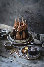 Обои для рабочего стола Торты Шоколад Свечи Доски Дизайна Пища