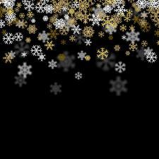 Фотографии Новый год Черный фон Снежинки Шаблон поздравительной открытки
