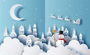 Фотография Новый год Полумесяц Снеговики Дед Мороз