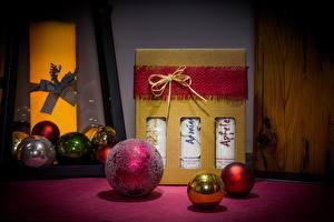 Фотографии Рождество Подарок Шар Бантики