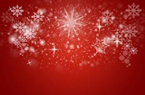 Картинки Новый год Красный фон Снежинки Шаблон поздравительной открытки