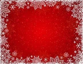 Фотографии Рождество Снежинки Шаблон поздравительной открытки Красном фоне