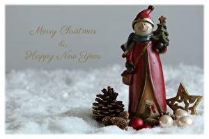 Картинки Рождество Снеговик Шапка Шишка Шар Английская